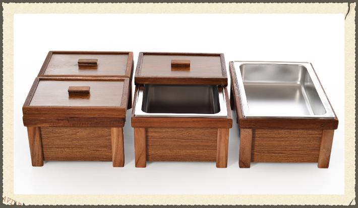 per teak chafing dish including water pan u0026 grey tote box storage